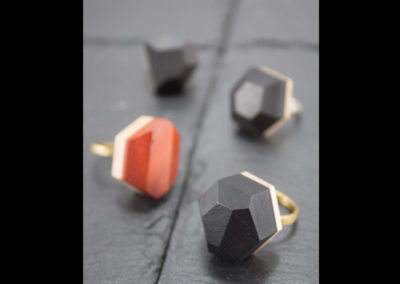GEMMA - Ebony, Padouk wood and Brass adjustable rings