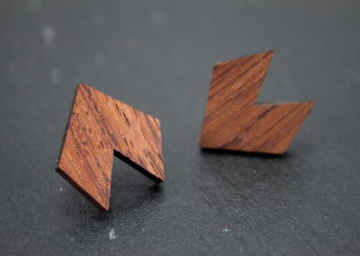 DOPPIO - Bubinga wood and Steel earrings