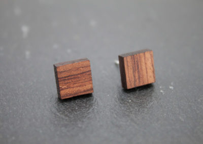 LOGO - Bubinga wood and Steel earrings