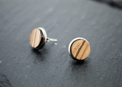 LOGO PLUS - Zebrano wood and Steel earrings