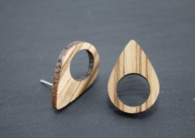 OVALE - Zebrawood and Steel earrings