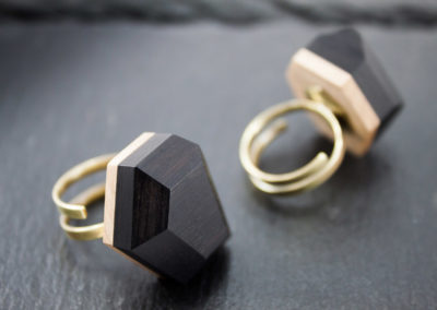 GEMMA - Ebony wood and Brass adjustable rings