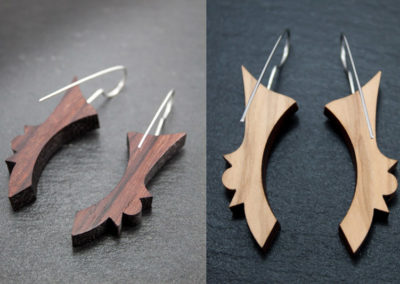 FREGIO earrings - Rosewood and Olive woods, Steel handmade hooks