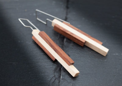 LINEA - Bubinga, Maple woods and Steel handmade earrings